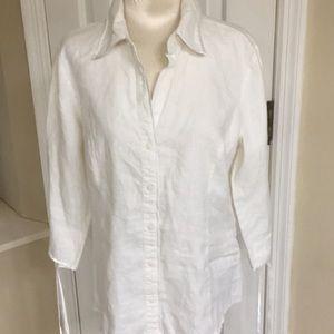 Old Navy white linen blouse